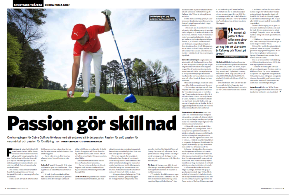 Intervju med Niklas Knutsson, Cobra Puma Golf, för Sportfack Golf Business