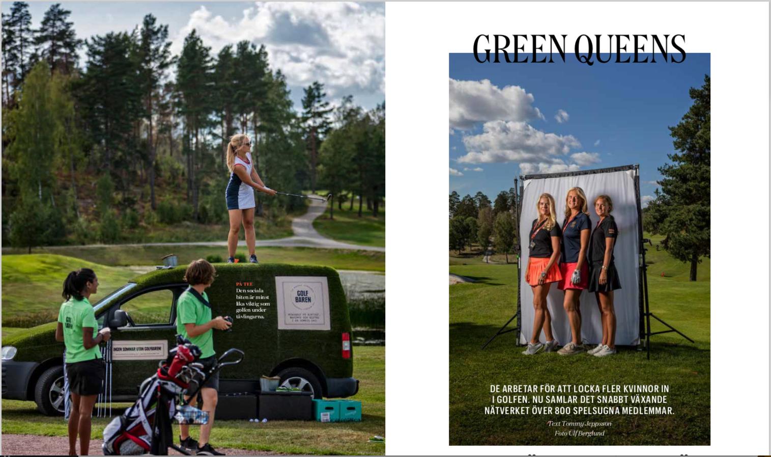Gröna tjejer på golfbanan